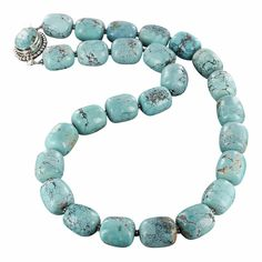 SKY BLUE CHINESE TURQUOISE NECKLACE BARREL BEADS 14x16mm from New World Gems