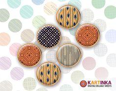 RETRO PATTERNS  15mm circle  Digital Collage Sheet by KARTINKAshop, $3.50