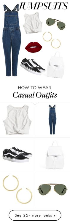 """Casual Jumpsuits"" by olarissa on Polyvore featuring Topshop, Ray-Ban, Vans, BaubleBar and jumpsuits"