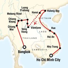 Map of the route for Vietnam, Laos & Thailand on a Shoestring
