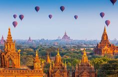 Temples in Bagan, Myanmar Burma hot air balloons 🎈 What a fairyland.Im scared to go since the ruler evaluates everyone on their Happiness Quotient. Might end up coming home with a new baby to adopt. Yangon, Mandalay, Balloon Rides, Air Balloon, Balloons, Tourist Places, Places To Travel, Beautiful Places In The World, Most Beautiful