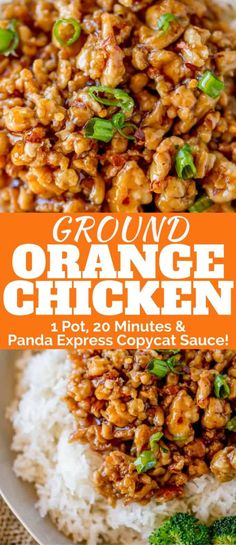) - Dinner, then Dessert Ground Orange Chicken Pan!) - Dinner, then Dessert Ground Orange Chicken is made in one pot and only takes 20 minutes using a Panda Express copycat sauce. So much healthier than the original! Clean Eating, Healthy Eating, Dinner Healthy, Healthy Chicken Dinner, Healthy Turkey Recipes, Healthy Ground Chicken Recipes, Recipes With Ground Turkey, Healthy Orange Chicken, Healthy Ground Turkey Dinner