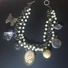 Statement Necklace Boutique necklace w a variety of elements. Silver and Pearl colored. Very shabby sheik. Boutique Jewelry Necklaces