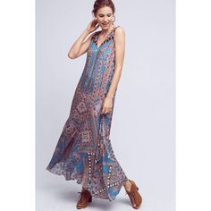 Hemant & Nandita Zarna Maxi Dress ($228) via Polyvore featuring dresses, turquoise, embroidery dress, embroidery maxi dress, maxi length dresses, embroidered maxi dresses and maxi dresses