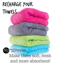 How to recharge your towels with just two ingredients you already have on hand! via Spend With Pennies tips tips and tricks tips for big families tips for hard water tips for towels Household Cleaning Tips, Diy Cleaning Products, Cleaning Solutions, Cleaning Hacks, Cleaning Recipes, Deep Cleaning, Household Organization, Household Products, Household Chores