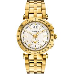 Men's Versace V-Race Sport Watch in Yellow Ion-Plated Stainless Steel... ($2,395) ❤ liked on Polyvore featuring men's fashion, men's jewelry, men's watches, jewelry, gold, mens leather band watches, mens white face watches, mens diamond bezel watches and mens yellow watches