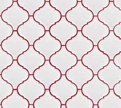 white lantern or arabesque tile set with red grout - This would look great with blue grout in the pool bathroom!