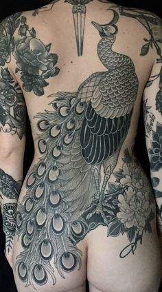 blessed wild apple girl - darktattoos: Japanese backpiece peacock done by...