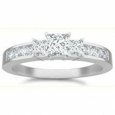1.00 Carat Princess cut Diamond Three stone Diamond Ring On 10K White Gold $949.99