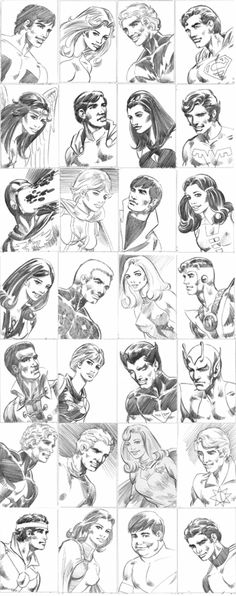 Artist: Mike Grell.  Head shots of the Legion of Superheros.