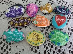 Inspirational rocks hand painted using acrylic paint and finished with a clear enamel coating. These make great stocking stuffers. Painted Rocks Craft, Hand Painted Rocks, Rock Painting Ideas Easy, Rock Painting Designs, Drawing Rocks, Inspirational Rocks, Rock Hand, Painted Cottage, Rock Decor