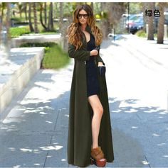 Plus Size Slim Long Sleeves Fashion Long Wool Coat
