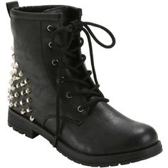 Hot Topic Black Studded Heel Combat Boots ($40) ❤ liked on Polyvore featuring shoes, boots, ankle booties, black studded booties, lace up boots, lace up booties, military boots and studded booties
