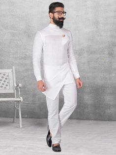 Shop Plain white silk kurta suit online from India. Mens Indian Wear, Indian Groom Wear, Indian Men Fashion, African Fashion, White Kurta Men, Kurta Pajama Men, Boys Kurta Design, Ankara Styles For Men, Gents Kurta