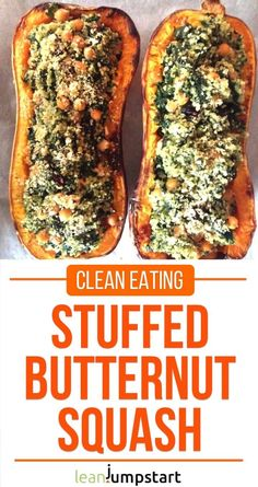 This delicious stuffed butternut squash with quinoa, cranberries, spinach, and chickpeas is an easy and satisfying recipe for the colder season. Stuffed butternut squash with quinoa and cranberries nou Veggie Dishes, Vegetable Recipes, Vegetarian Recipes, Healthy Recipes, Recipes With Quinoa, Easy Plant Based Recipes, Vegan Butternut Squash Recipes, Clean Eating Recipes, Healthy Eating