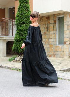 This is one of the newest models for SUMMER 2015 - BLACK COTTON MAXI DRESS WITH POCKETS ♥ ♥ ♥ BLACK MAXI DRESS ♥ ♥ ♥ SO ADORABLE ♥ ♥ ♥