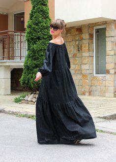 Robe noire Maxi Boho robe robe longue robe par cherryblossomsdress