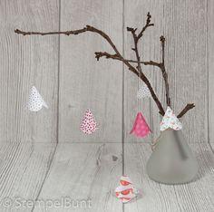 StempelBunt - Glockenblumen aus Designerpapierresten