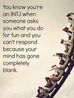 """""""You know you're an INTJ when someone asks you what you do for fun and you can't respond because your mind has gone completely blank.""""--Goodness! THIS! The same way when people ask me, """"How was your weekend?"""" I don't know. I can't even remember what I did. I had the weekend. I was awake. I did stuff. OH! I went to a concert at the park. That's right. AND I took bread to the bayfront to feed Kramer and his ilk while trying to keep the seagulls and their incessant """"Mine!"""" from not…"""