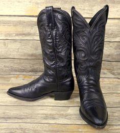 Dan Post Cowboy Boots Black Leather Mens Size 7.5 D Country Western Biker Shoes #DanPost #CowboyWestern