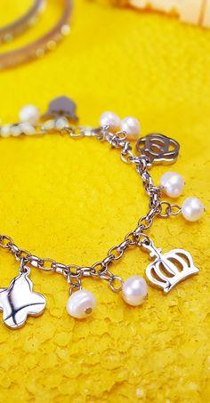 bb201b2667b2 Pulsera perlas y acero   pulsera con charms   pulsera con colgantes