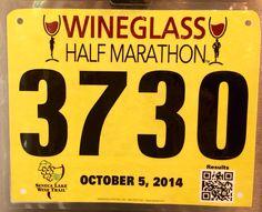 5th Half Marathon - WINEGLASS.  October 5, 2014.  Corning, NY.  Time 2:17:58hrs (10:44). Running Bibs, October 5, Marathon, Marathons