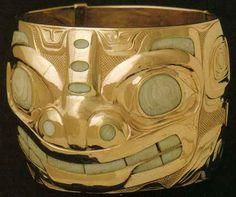 """Bill Reid: gold and fossilized ivory bracelet, 1964. From """"Bill Reid"""" by Doris Shadbolt."""