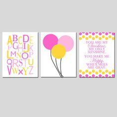 Nursery Trio  Set of Three 8x10 Prints  Pink and Yellow by Tessyla, $55.00