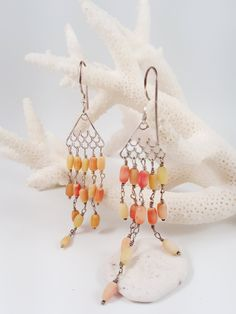 Coral Chandelier Earrings, Coral Earrings, Red Coral, Sterling Earrings, Red Earrings, Fish Tail Earrings, Fringe Earrings, Gift For Her by AtehModus on Etsy