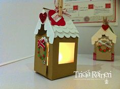 The Speckled Sparrow: 12 Weeks Of Christmas: Week 6 Oh So Cute Gingerbread Houses Christmas Goodies, Christmas Crafts, 12 Weeks, Tea Lights, Paper Crafts, Speed Internet, Gingerbread Houses, High Speed, Holiday Decor