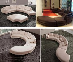 sectional couches | ... >> Leather Sectionals >> Modern Round Leather Sectional sofa A94