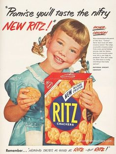 Ritz Crackers 1953 Girl Taste Nifty Richer Crisper - Mad Men Art: The Vintage Advertisement Art Collection Old Poster, Poster Retro, Poster Ads, Poster Vintage, Poster Prints, Art Print, Giclee Print, Old Advertisements, Retro Advertising