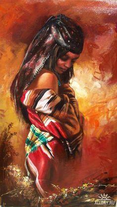 Gipsy Girl Painting - Gipsy Girl by Alim Adilov Black Girl Art, Black Women Art, Black Art, Art Girl, Native American Girls, Native American Pictures, African Paintings, African Art, Painting Of Girl