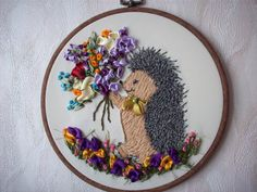 Your Hedgehog  Embroidery Silk ribbons Wall by EmbroideryByAnna, $42.00