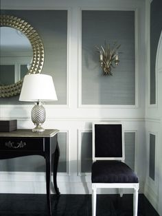 Dining room! moulding with metallic grasscloth via Greg Natale | Sydney based architects and interior designers