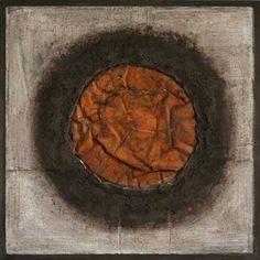 Eerste zon 80 x 80 cm  ijzer, acryl.