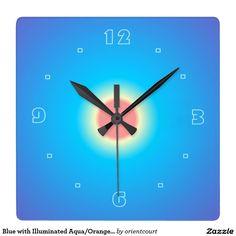 Blue with Illuminated Aqua/Orange > Wall Clock