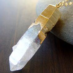Vanilla Quartz Gold Dipped Necklace