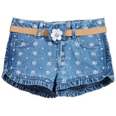 Girls blue chambray shorts by Mayoral. Made in soft, lightweight cotton, they have an embroidered silver flower pattern and four pockets. The adjustable waistband has belt loops and fastens with a popper and zip in the front. It has pretty ruffles on the leg holes and along the sides of the shorts. The synthetic leather belt has a flower in the front, fastens with a popper and can be worn on its own.<br /> <ul> <li>Shorts: 100% cotton (soft, lightweight chambray denim)</li> <li>Machine wash…