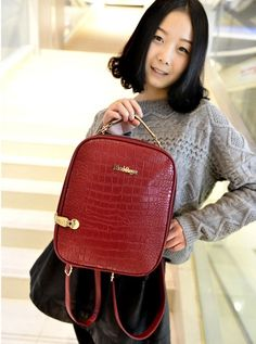 BA00120 Backpack retro crocodile Casual Korean style