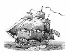 Old Sailing Ship Drawings | Sailing Ship, 18th Century Photograph