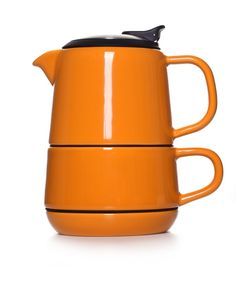 Orange Castle Ceramic Tea For One - Teapot, Cup and Saucer     Now you can bring the fresh spirit of the tea culture directly to your table with this modern CASTLE teapot. #teaware