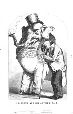 """Mr. Trunk and his adviser."" Pictures of comical people, with stories about them : for children of all ages. #elephant This book is in the public domain."