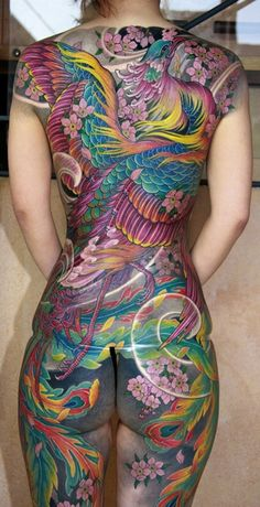 Japanese phoenix tattoo back piece, by Shige