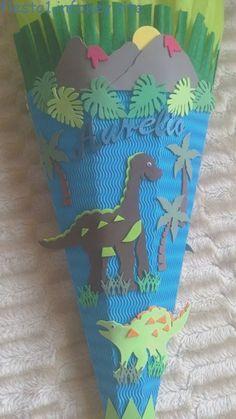 Bastelset  Schultüte Dino Dreihorn Zuckertüte blau grün braun