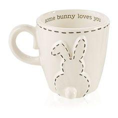 Mud Pie White 16-Oz. Floppy Ears Bunny Mug ($19) ❤ liked on Polyvore featuring home, kitchen & dining, drinkware, white, rabbit mug, bunny mug, white ceramic mugs, white mug and ceramic mugs