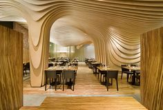 """""""Office dA, a Boston-based architecture firm, had the challenge of creating a one-of-a-kind interior for BanQ, a French-inspired restaurant with a Southeast Asian twist. Design Furniture, Home Furniture, Modern Furniture, Home Interior, Interior Architecture, Wooden Architecture, Simple Interior, Interior Walls, Interior Decorating"""