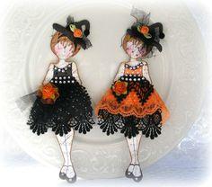ELITE4U Toni SET OF PREMADE SCRAPBOOKING HALLOWEEN PAPER DOLLS ALBUM CARD PAGE Prima Paper Dolls, Prima Doll Stamps, Doll Crafts, Fun Crafts, Paper Crafts, Halloween Scrapbook, Halloween Cards, Shabby Chic Halloween, Knitted Dolls