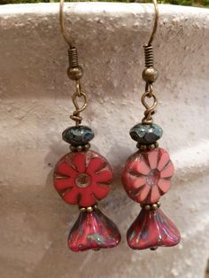 Czech glass beaded earrings, fancy picasso beads, red, antique gold. $16.00, via Etsy.