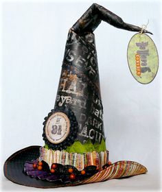 Witches hat decoration - this hat is made using a foam cone as a base for paper or fabric - modge podge helps with the shaping - decorate as desired